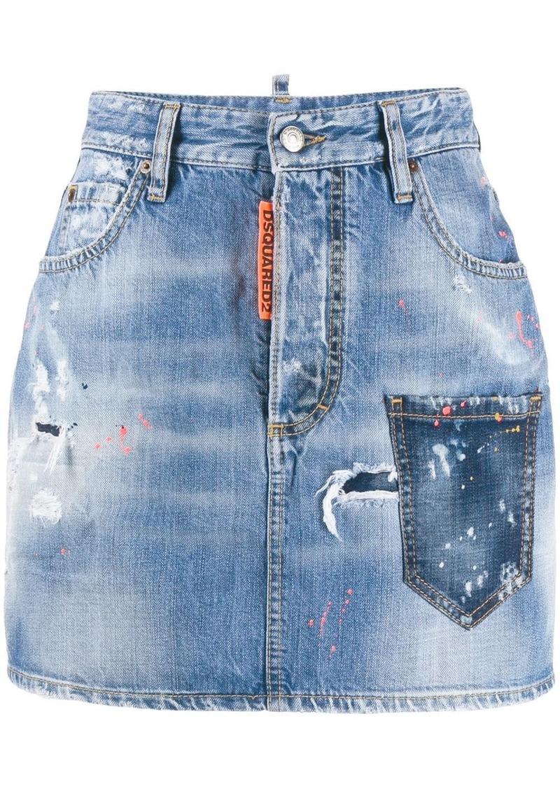 Dsquared2 paint splatter denim skirt