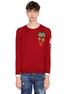 Dsquared2 Patch Wool Knit Sweater W/ Shirt Cuffs
