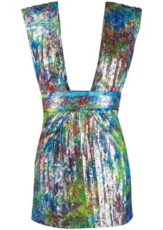 Dsquared2 pleated print cocktail dress