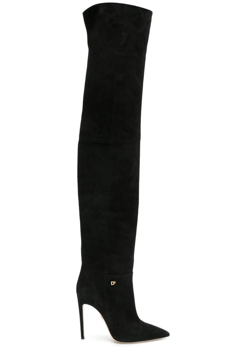 b60e52aec9ede6 Dsquared2 pointed toe thigh-high boots