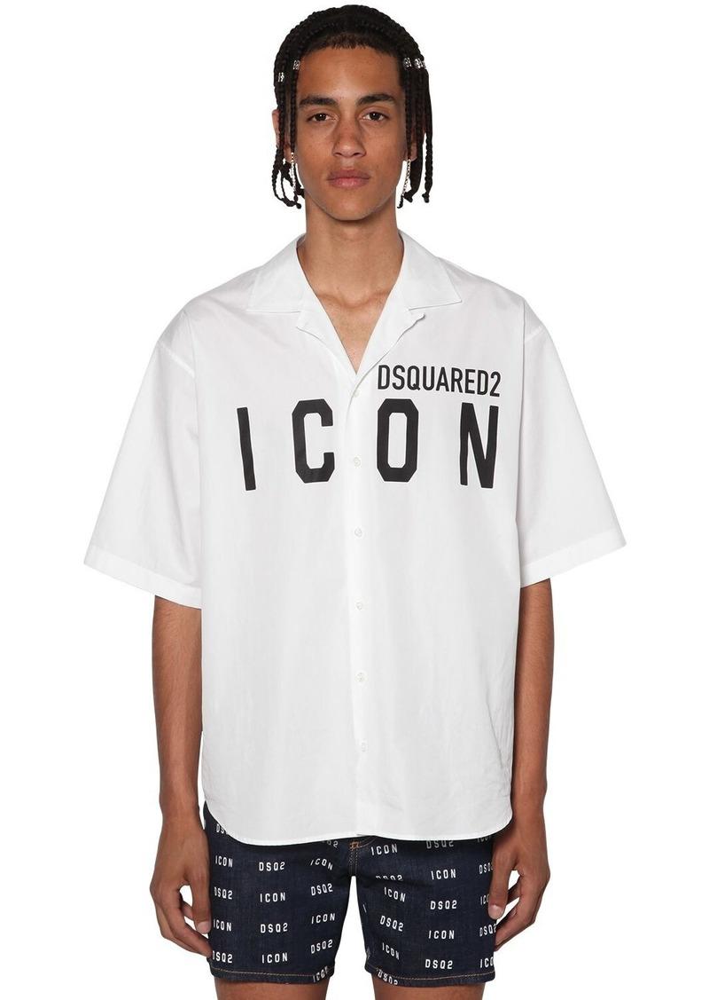 Dsquared2 Print Icon Logo Poplin Bowling Shirt