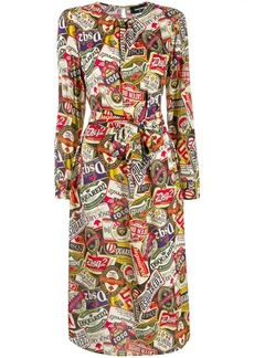 Dsquared2 printed belted midi dress