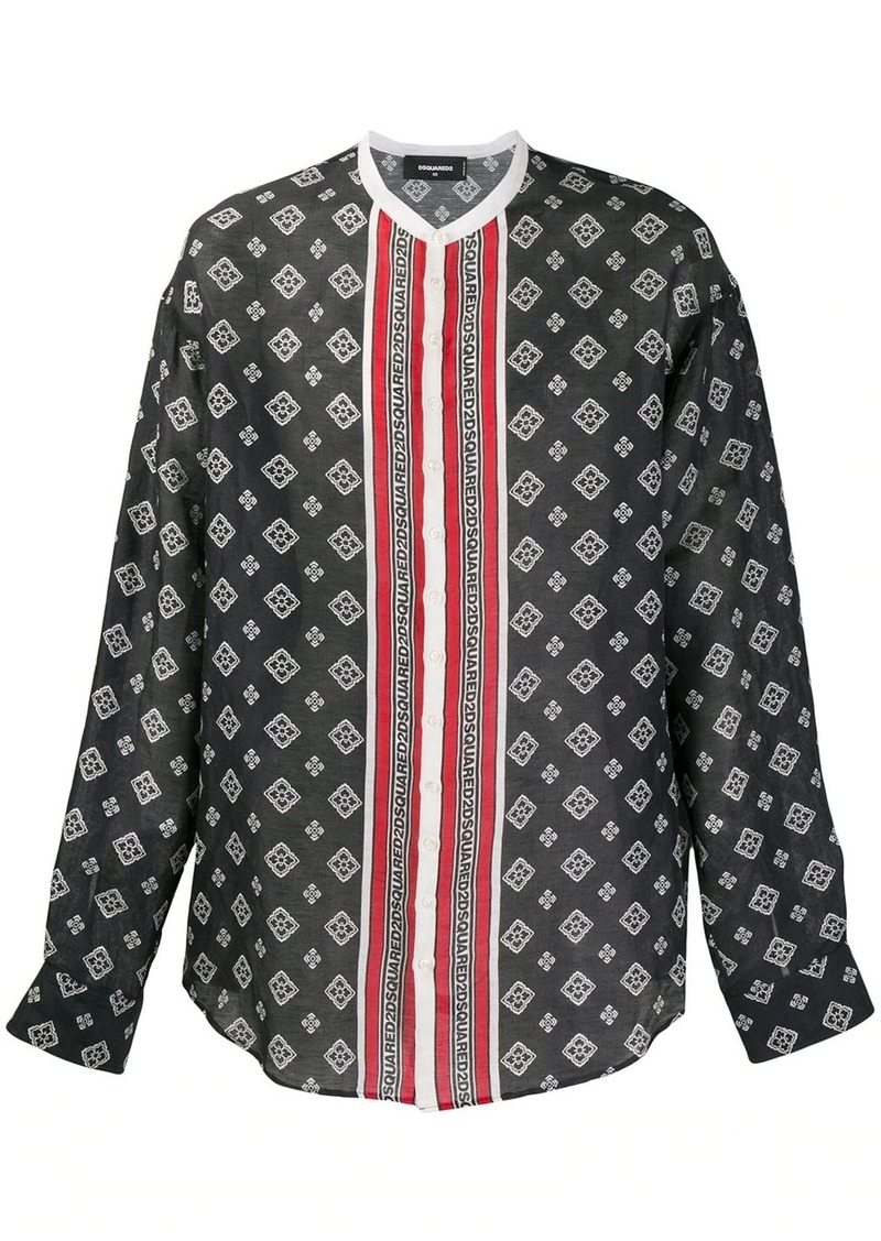 Dsquared2 printed collarless shirt