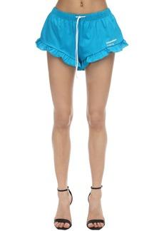 Dsquared2 Printed Cotton Jersey Shorts W/ Ruffle