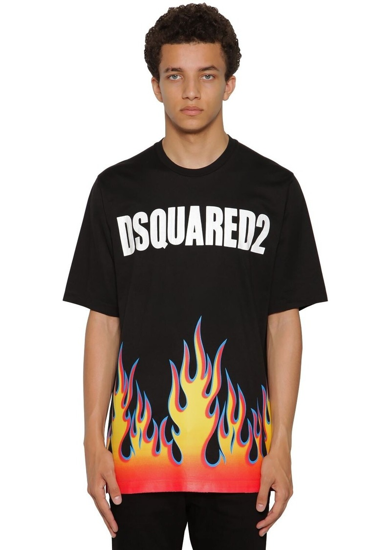 Dsquared2 Printed Slouch Cotton Jersey T-shirt