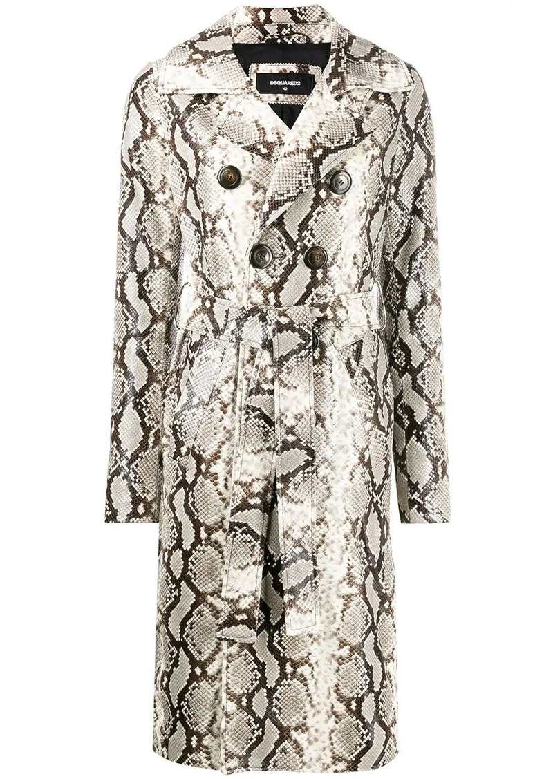 Dsquared2 python print trench coat