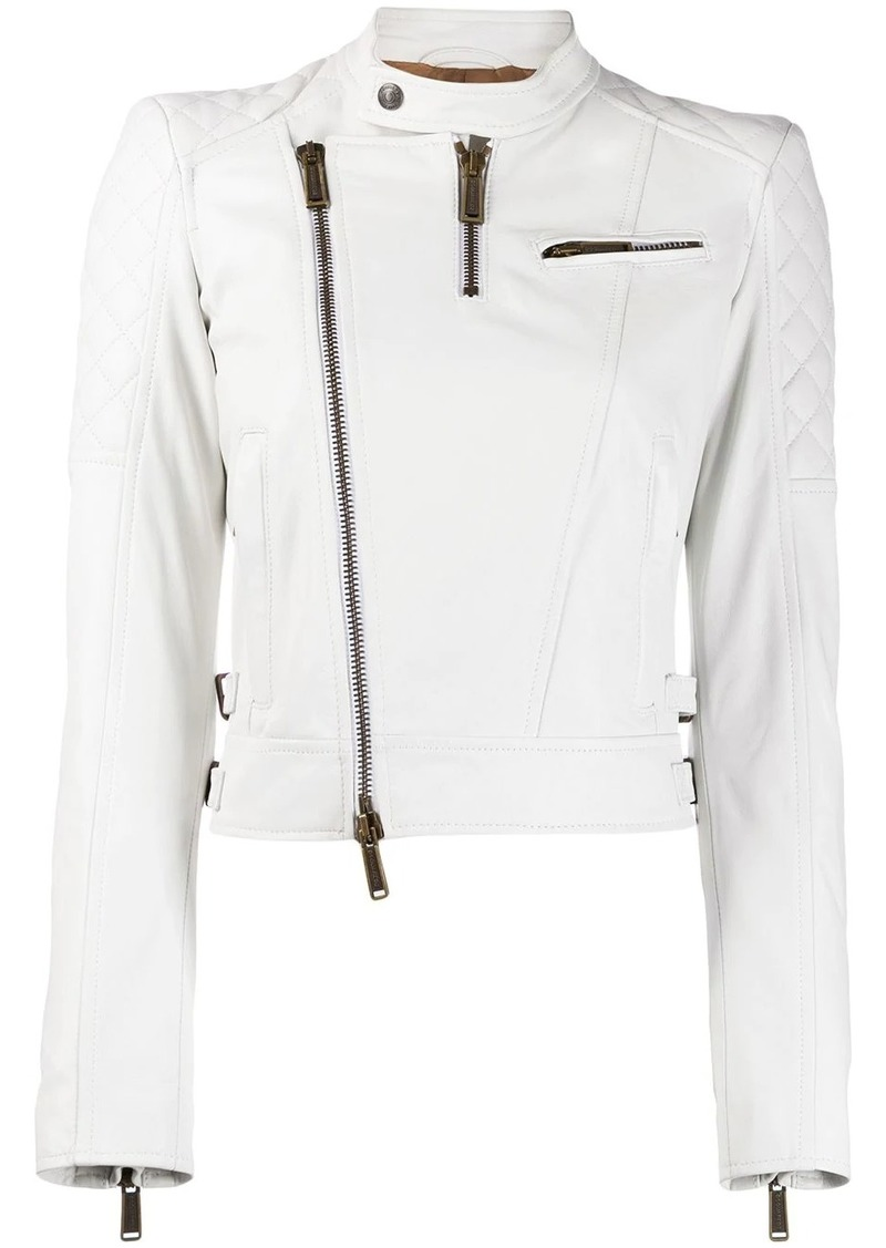 Dsquared2 quilted panelled biker jacket