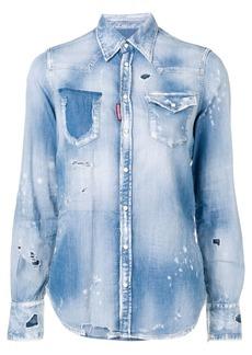 Dsquared2 ripped denim shirt