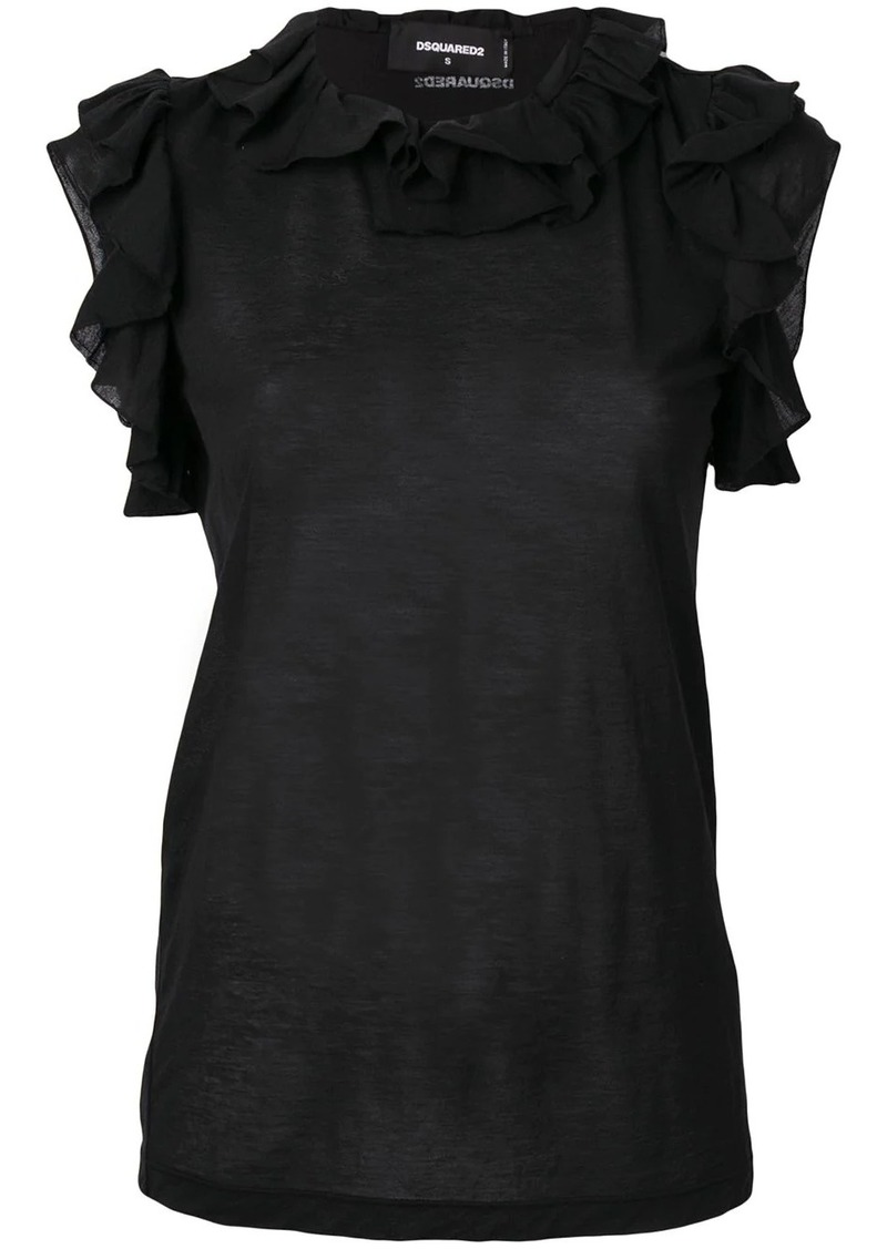 Dsquared2 ruffle trim top