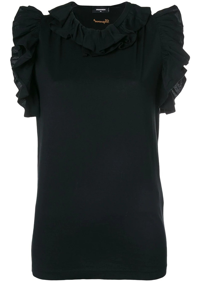 Dsquared2 ruffle-trimmed top