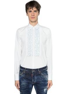 Dsquared2 Ruffled Cotton Poplin Tuxedo Shirt