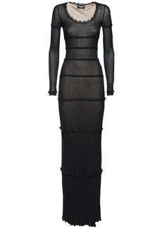 Dsquared2 Scoop Neck Viscose Rib Knit Long Dress