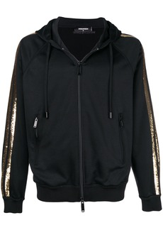 Dsquared2 sequin striped zip-up hoodie