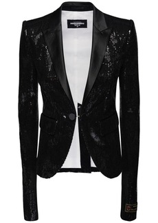 Dsquared2 Sequined Blazer W/ Satin Lapels