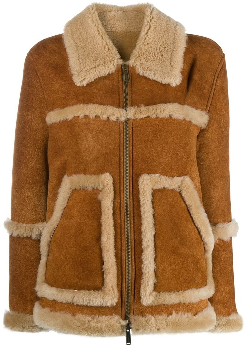Dsquared2 shearling-trimmed jacket