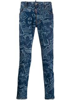 Dsquared2 stamped logo slim-fit jeans