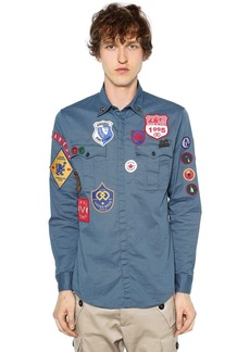 Dsquared2 Stretch Cotton Twill Military Shirt
