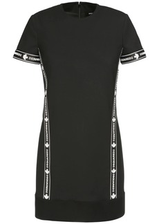 Dsquared2 Stretch Wool Mini Dress W/ Logo Band