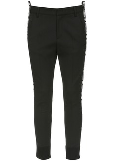Dsquared2 Stretch Wool Skinny Pants W/ Logo Band