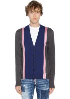 Dsquared2 Striped Wool Knit Jacquard Cardigan