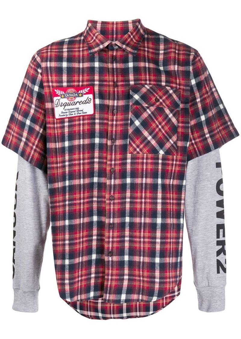 Dsquared2 tartan print layered shirt