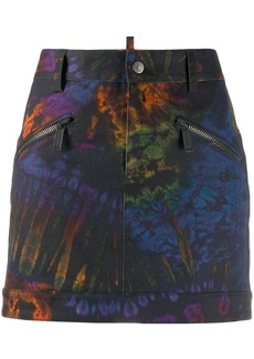Dsquared2 tie-dye prit denim skirt