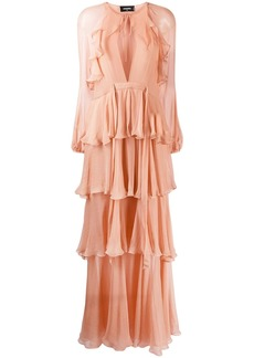 Dsquared2 tiered tie-neck dress