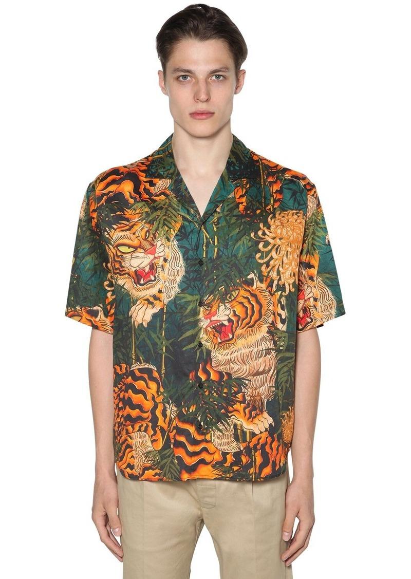 Dsquared2 Tiger Bamboo Print Cotton Bowling Shirt
