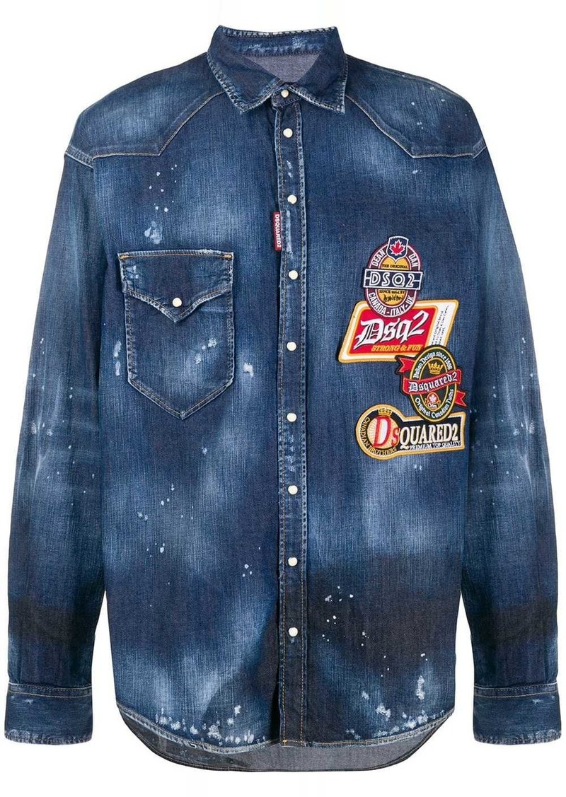 Dsquared2 Western embroidered patches shirt