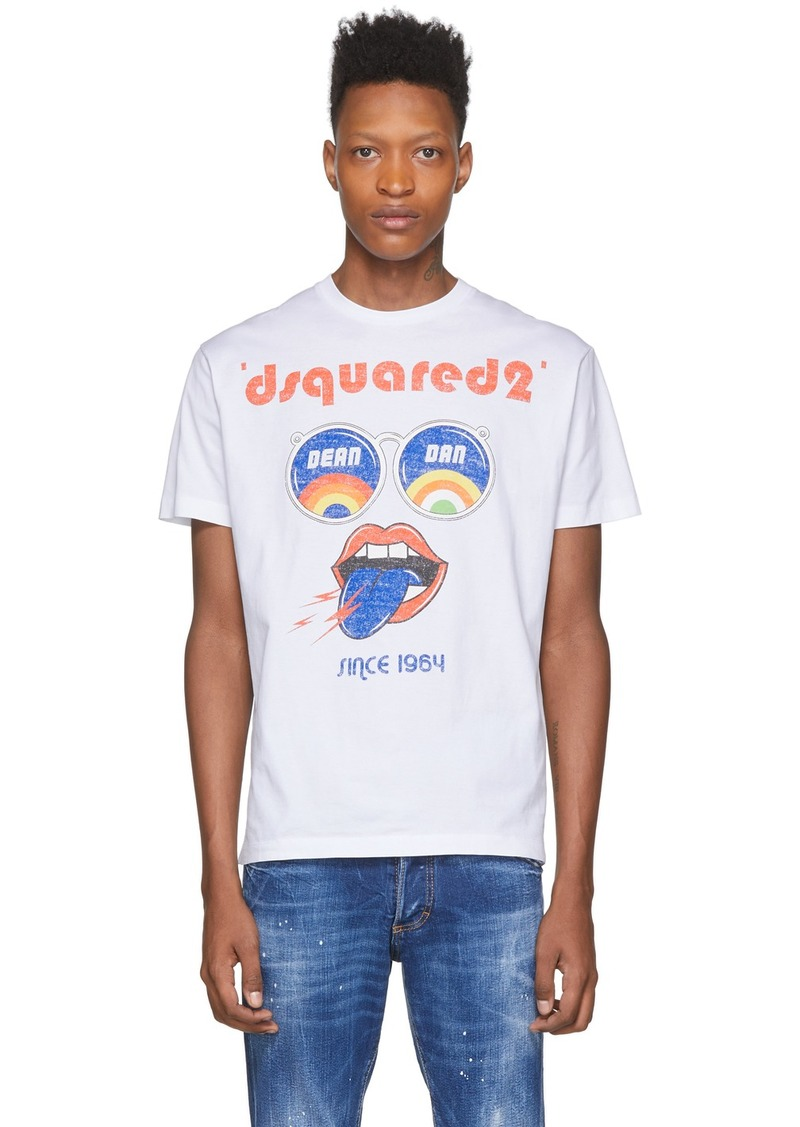 Dsquared2 White 'Dean & Dan' Psychedelic Sunnies T-Shirt