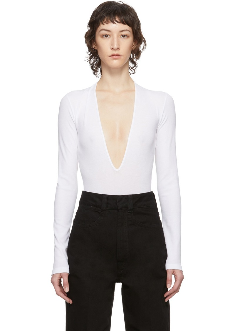 Dsquared2 White Rib Long Sleeve Bodysuit