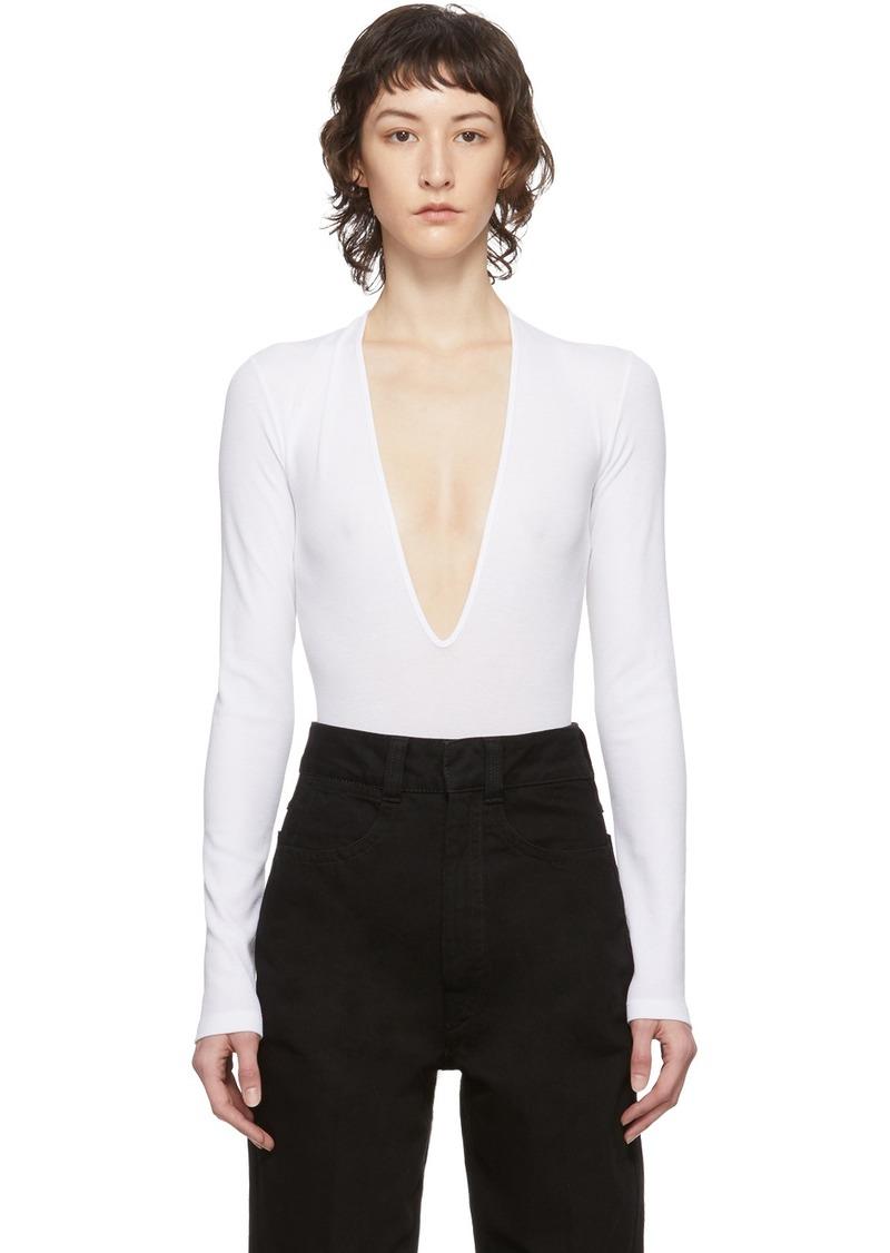Dsquared2 White Rib Long Sleeve Bodysuit