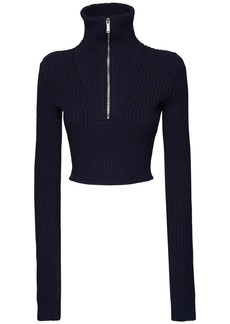 Dsquared2 Wool & Cashmere Rib Knit Cropped Sweater