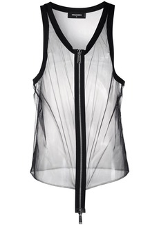 Dsquared2 zip-through longline mesh tank top