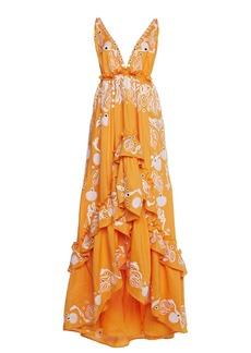 Dundas - Women's Embroidered Ramie Tiered Maxi Dress - Orange - Moda Operandi