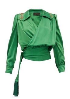 Dundas Beaded satin wrap blouse