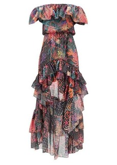 Dundas Dip-hem floral-print fil-coupé silk-blend dress