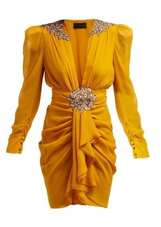 Dundas Floral-embroidered silk-chiffon mini dress