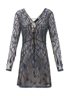 Dundas Laced-front sequinned and beaded mini dress
