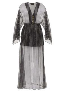 Dundas Lamé-striped silk-blend chiffon dress