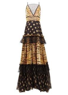 Dundas Mesh-insert zebra polka-dot fil-coupé tiered gown
