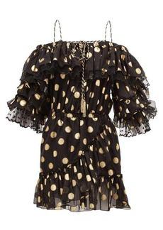 Dundas Off-the-shoulder polka-dot silk-blend mini dress