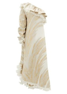 Dundas One-shoulder feather-jacquard crepe dress