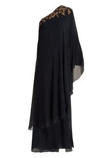 Dundas One-shoulder silk-georgette kaftan gown
