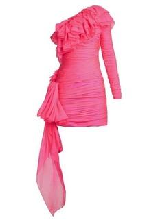 Dundas One-shoulder tiered-ruffle mini dress