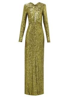 Dundas Plunge-keyhole sequin gown