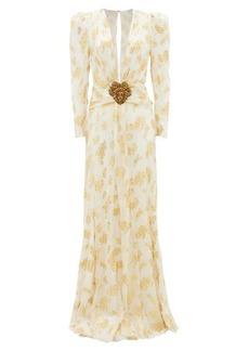 Dundas Plunge-neckline leaf-jacquard silk-crepe gown
