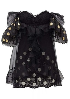 Dundas Ruffled off-the-shoulder lace mini dress