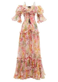 Dundas Ruffled pleated floral-print silk-organza dress