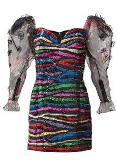 Dundas Sequinned off-the-shoulder silk mini dress